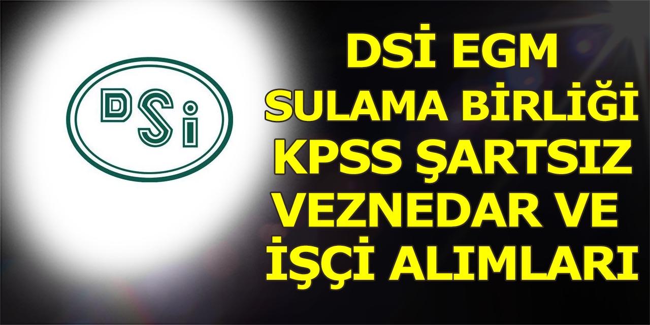 DSİ EGM ve Sulama Birlikleri En Az İlkokul Veznedar ve İŞKUR İşçi Alımları